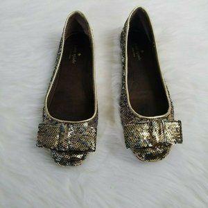Kate Spade Gold Silver Sequin Bow Ballet Flats